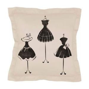 Pochoir sur coussin petites robes noires mon artisane fabricante de pochoirs