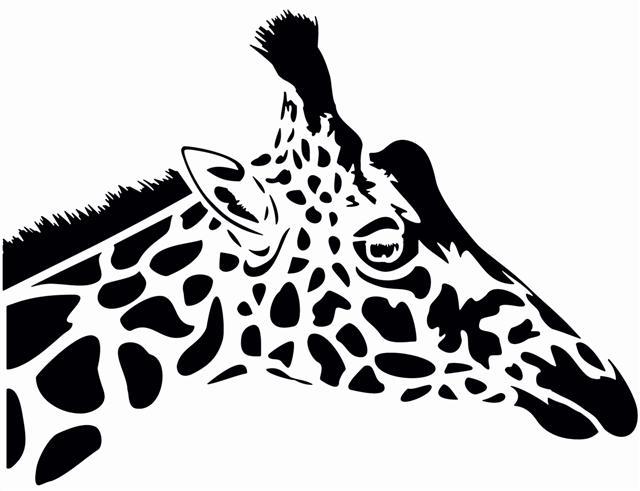 Pochoir tete de girafe