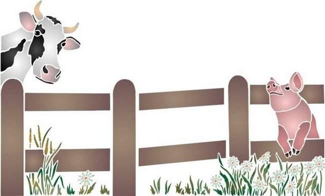 Pochoir vache cochon barriere en bois ref spa061
