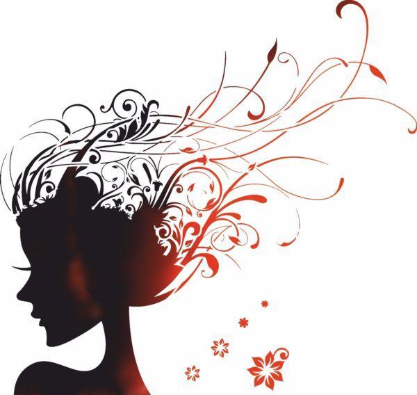 Pochoir visage femme fleurs volutes mon artsiane ref fem3001