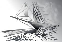 pochoir voilier brume