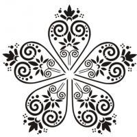 Pochoir volutes orientale cinq branches mandala etoile a peindre mon artisane