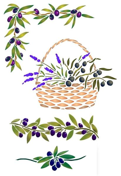 Pochoirs kit olives promo style pochoir monartisane medium