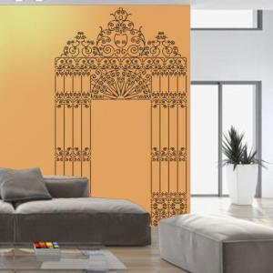 Portail fer forge pochoir a peindre pour decoration murale