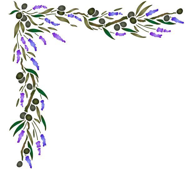 Pr717 angle olives lavande pochoir