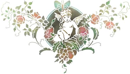 Spd3788 pochoir ange fleurs baroque