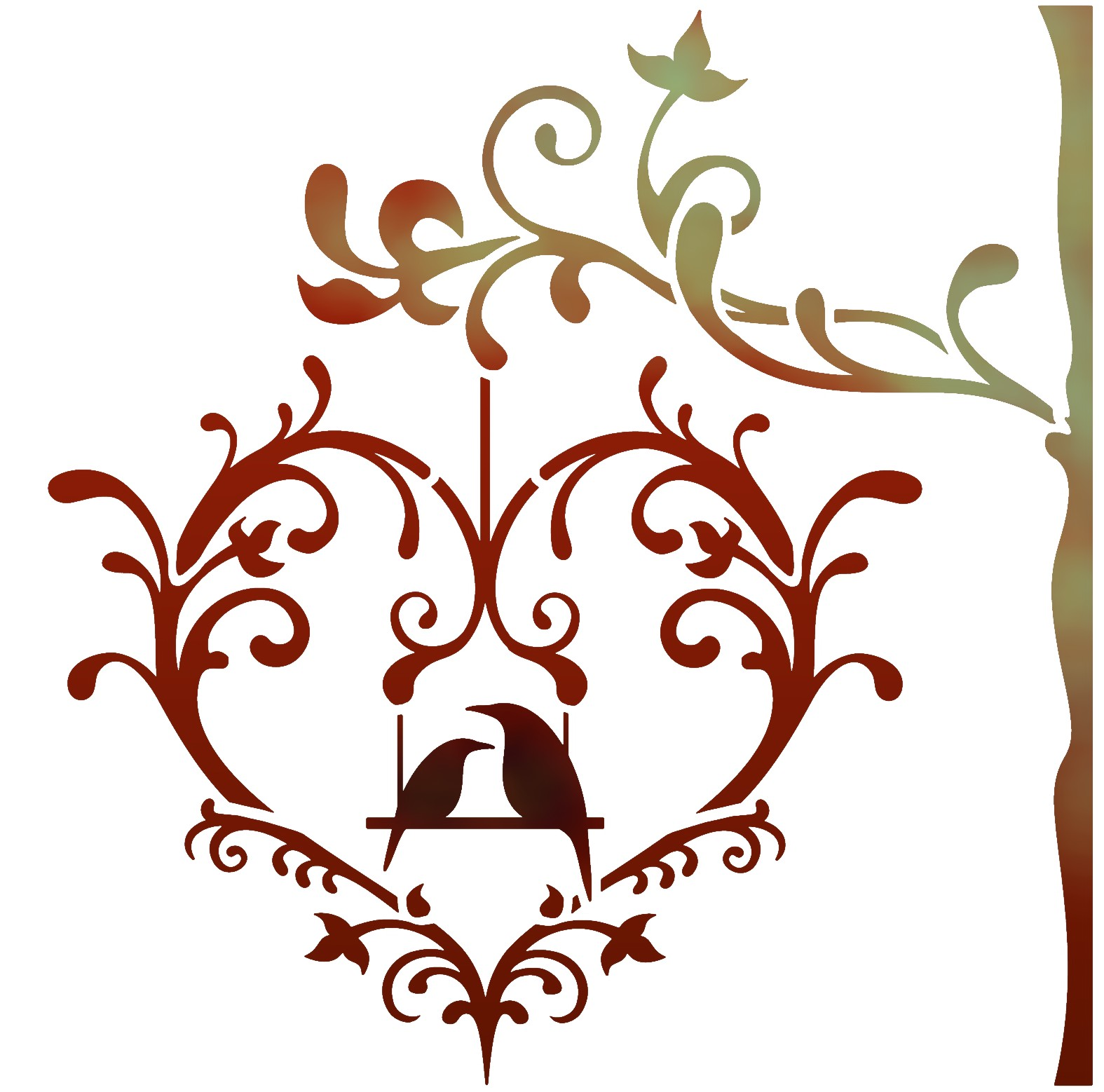 Stipo1591 coeur oiseaux amoureux sur branche en pochoir