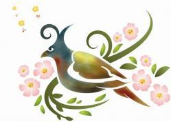 Oiseau et fleurs