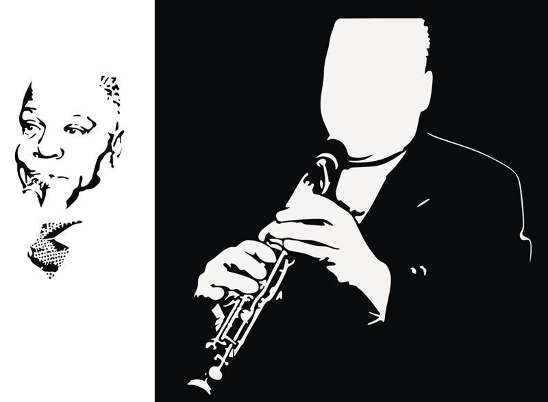 Sydney bechet trompettisteen 2 parties style pochoir